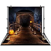 Allenjoy 5x7ft photography backdrop background scary Wooden bridge night Halloween candles skulls pumpkins newborn baby shower props photo studio booth