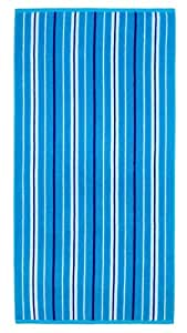 Cotton Craft - Terry Beach Towel 30x60 - 2 Pack - Portsmouth Blue Stripe - 400 grams per square meter - 100% Pure Ringspun Cotton - Brilliant intense vibrant colors - Highly absorbent easy care machine wash - Use for picnic poolside or as a colorful bath towel