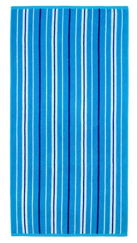 Cotton Craft - Terry Beach Towel 30x60 - Portsmouth Blue Stripe - 400 grams per square meter - 100% Pure Ringspun Cotton - Brilliant intense vibrant colors - Highly absorbent easy care machine wash - Use for picnic poolside or as a colorful bath towel