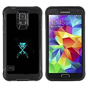 ZAAAZ Rugged Armor Slim Protection Case Cover Durable Shell - Anonymous Rebel Neon Blue - Samsung Galaxy S5