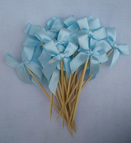 24 Pack Light Blue Ribbon Bow Party Wedding Cupcake Toppers Birthday Baby Shower Cake Toppers
