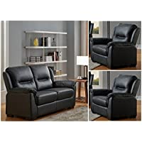 Black High Grade Genuine Leather 3 Seater Sofa 2 Seater Leather Sofa Armchair Suite NEW YORK (3+2)