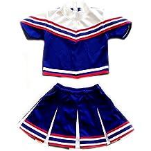 American Mini Kids Girl Cheerleader Outfit Uniform Costume Cosplay Karneval Blue/Red