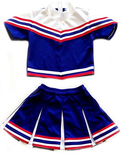 [American Mini Kids Girl Cheerleader Outfit Uniform Costume Cosplay Karneval Blue/Red (L / 8-10)] (Special A Uniform Cosplay Costume)