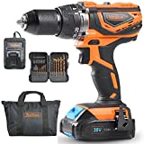 VonHaus 20V MAX 1/2'' Cordless Drill Driver with Hammer Function, Keyless Chuck, Variable Speed Trigger, LED Light, 15pc Bit Set - 2.0Ah Lithium-Ion Battery and Charger Kit Included