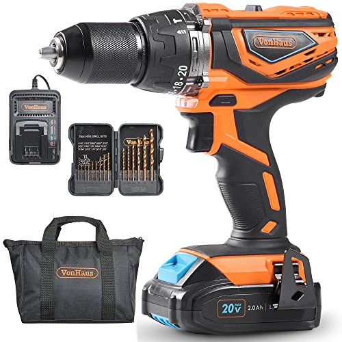 "VonHaus 20V MAX 1/2"" Cordless Drill Driver with Hammer Function, Keyless Chuck, Variable Speed Trigger, LED Light, 15pc Bit Set - 2.0Ah Lithium-Ion Battery and Charger Kit Included"