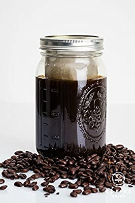 Coffee Tribe Cold Brew Coffee Maker - Iced Coffee / Tea Infuser (32 Oz) Airtight Travel Mug - Premium 1 Quart Wide Mouth Mason Jar, Stainless Steel Filter, Drink Recipes - Perfect Gift Set Bundle