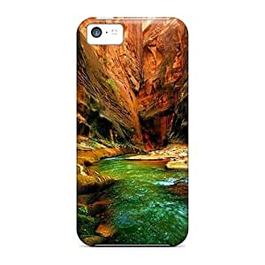 Awesome Green River In A Narrow Red Canyon Flip Case With Fashion Design For Iphone 5c