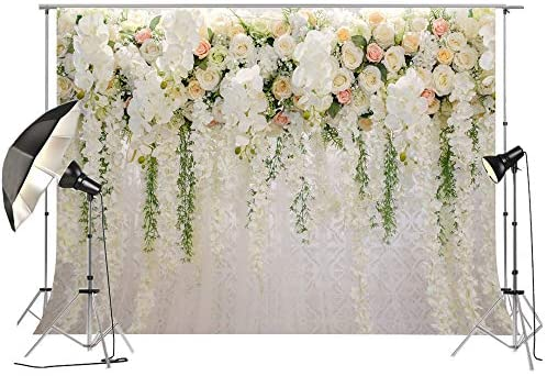 White Background with Vibrant Rose Petals Vortex with Realistic Look Background for Baby Shower Birthday Wedding Bridal Shower Party Decoration Photo Studio 8x10 FT Photography Backdrop