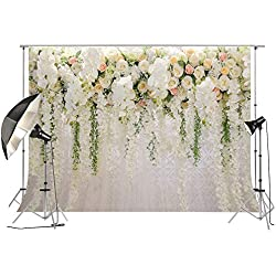 Bridal Shower Large Thin Vinyl Wedding Floral Wall Backdrop PC Print White and Green Wisteria Rose Flowers Dessert Table Photo Booth for Photography XT-6749