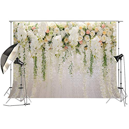Bridal Shower Large Thin Vinyl Wedding Floral Wall Backdrop PC Print White and Green Wisteria Rose Flowers Dessert Table Photo Booth for Photography XT-6749 -