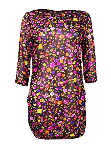 Anne Cole Women's Rosebud Floral Print Mesh Boat Neck Side-Shirred Cover Up, Multi, Small