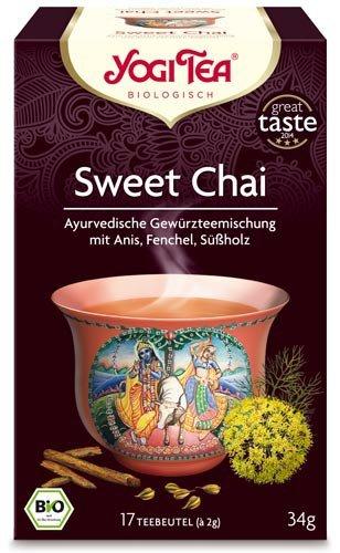 Yogi Tee, Sweet Chai Ayurvedische Teemischung, Biotee, Zutaten aus kontrolliert ökologischem Anbau, 17 Teebeutel, 34g