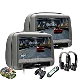 XTRONS Grey 2x9 Inch Pair HD Digital Touch Panel Leather Cover Car Auto Headrest DVD Player Games Built-in HDMI Port Black New Version Headphones Included