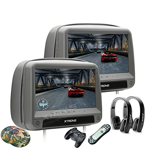 (XTRONS Grey 2x9 Inch Pair HD Digital Touch Panel Leather Cover Car Auto Headrest DVD Player Games Built-in HDMI Port Black New Version Headphones Included)