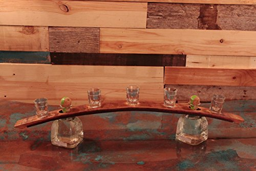Whiskey Barrel Shot Glass ServingTray-Display. by Top Shelf Barrel