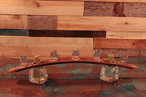 Whiskey Barrel Shot Glass ServingTray-Display. by Top Shelf Barrel