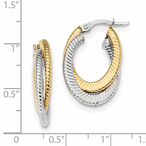 ICE CARATS 14k Two Tone Yellow Gold Textured Double Oval Hoop Earrings Ear Hoops Set Fine Jewelry Gift Set For Women Heart by ICE CARATS (Image #2)