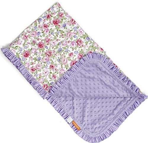 (Dear Baby Gear Deluxe Baby Blankets, Cotton Vintage Floral Pink and Lilac Roses, Lavender Minky Dot with Lavender Ruffle, 38 Inches by 29 Inches)