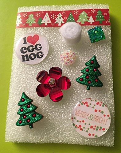 Resin I love Egg Nog and Merry and Bright Christmas Tacks, Glitter Tacks, Resin Flower Tacks, Felt Tacks,Resin Christmas Tree Tack, Memo Board, Bulletin/Cork Board, Hostess Gifts, Christmas,Dorm Decor