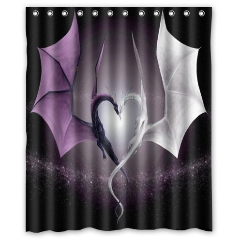 Cool Dragon Designsea Dragons And Fire Art Decor 100 Polyester Shower Curtain