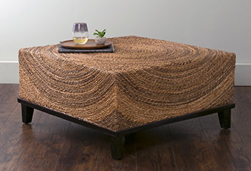 East At Main Chickasaw Brown Abaca Square Coffee Table, 35.5×35.5×18.5