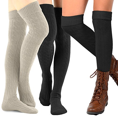 (TeeHee Women's Fashion Over the Knee High Socks - 3 Pair Combo (Cable Cuff Bright Combo))