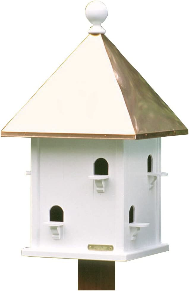 Lazy Hill Farm Designs 42412 Square House White Solid Cellular Vinyl with Polished Copper Roof, 15-Inch by 26-Inch