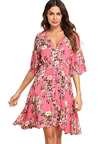 Milumia Women's Boho Button Up Split Floral Print Flowy Party Dress X-Large Multicolor-Pink (Womens Black And Pink Dresses)