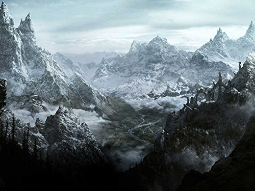 Skyrim mountain Oil Painting On Canvas Modern Wall Art Pictures For Home Decoration Wooden Framed (24X16 Inch, Framed) ()