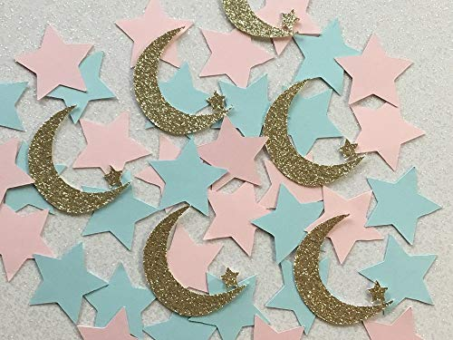 Twinkle Twinkle Little Star Gold Glitter Moon and Star Confetti - Gender Reveal Confetti (Set of 150 Pieces)