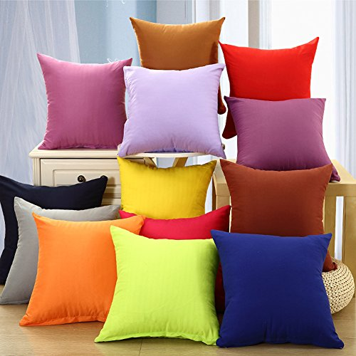 Coliang 2017 Candy Solid Color Throw Pillow Case Fashion Cushion Sofa Bed Office Spandex Supersoft Back Cushion Two Sides Pillow Cover 18x18 Inch (45x45CM) - (Best Halloween Ideas 2017)