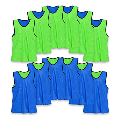 - Unlimited Potential Nylon Mesh Scrimmage Team Practice Vests Pinnies Jerseys Bibs for Children Youth Sports Basketball, Soccer, Football, Volleyball (12 Pack, Reversible Green/Blue, Adult)