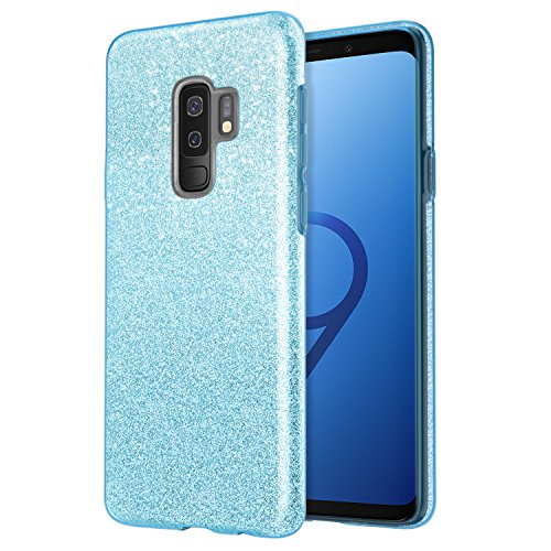 MoKo Samsung Galaxy S9 Plus Case, Glitter Sparkle Bling Phone Cover, Shining Protective TPU Bumper Cushion Case [Three Layer] for Samsung Galaxy S9 Plus 2018, Blue