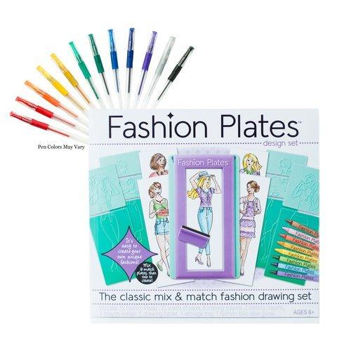 Fashion Plates Design Set with Gel Pens - Fashion Design Set