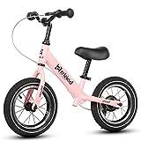 "Motion Balance Bike - 12"" Inflatable Wheels Handbrake No Pedal Carbon Steel Frame Wheels for Kids 2, 3, 4, 5,6 Year Olds The Best Gift for Children(Pink)"