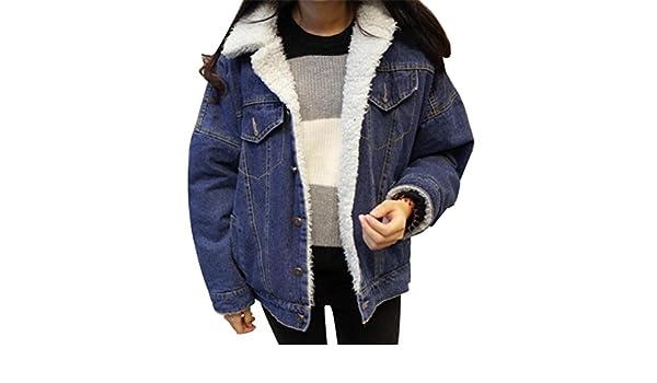 09162fccf5b Fensajomon Womens Denim Jacket Winter Thicken Faux Fur Lined Coat Outwear  at Amazon Women s Coats Shop