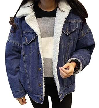Fensajomon Womens Denim Jacket Winter Thicken Faux Fur