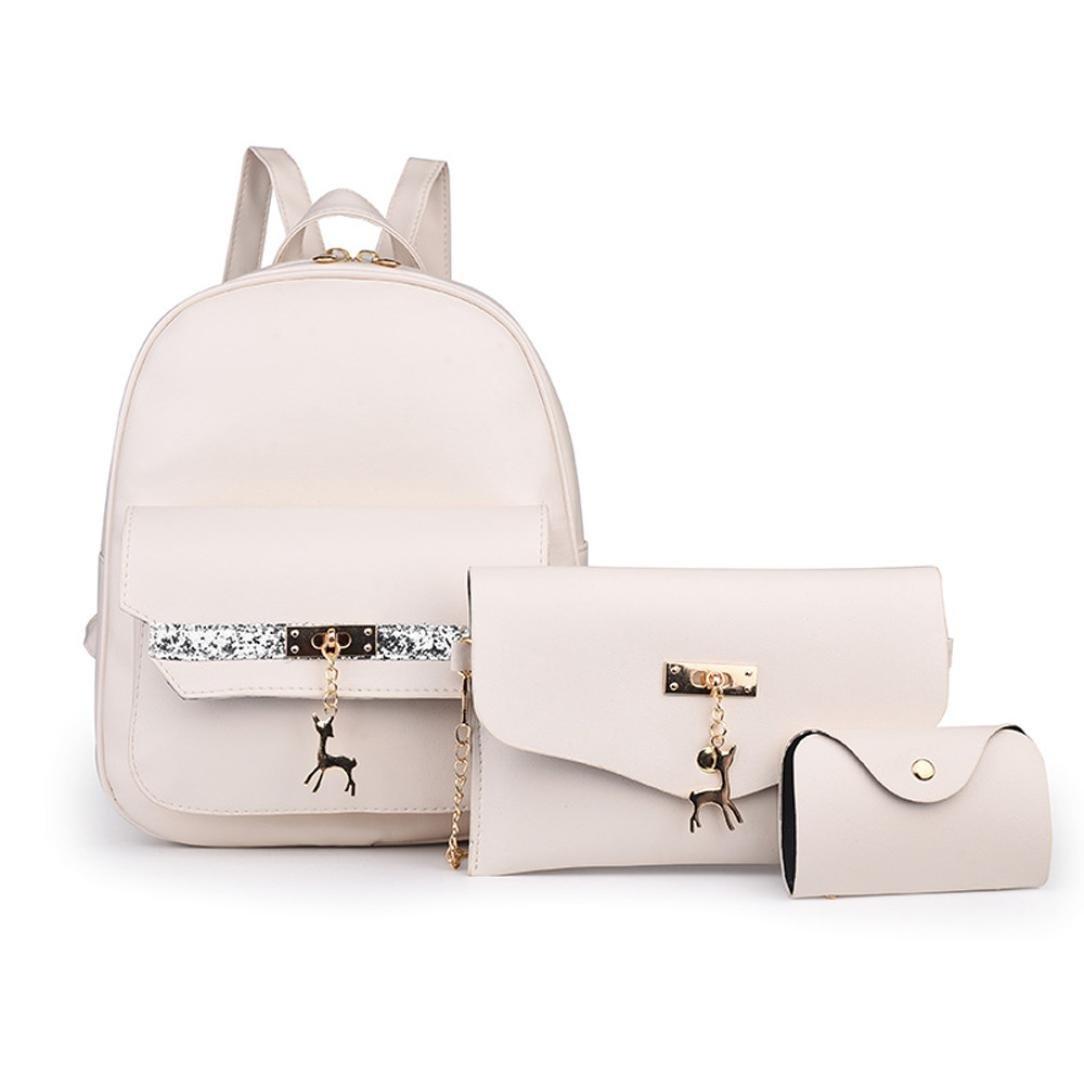Clearance! Nevera 3PCS Women Leather Shoulder Bag Backpack School Bag Messenger Bag Card package (Beige)