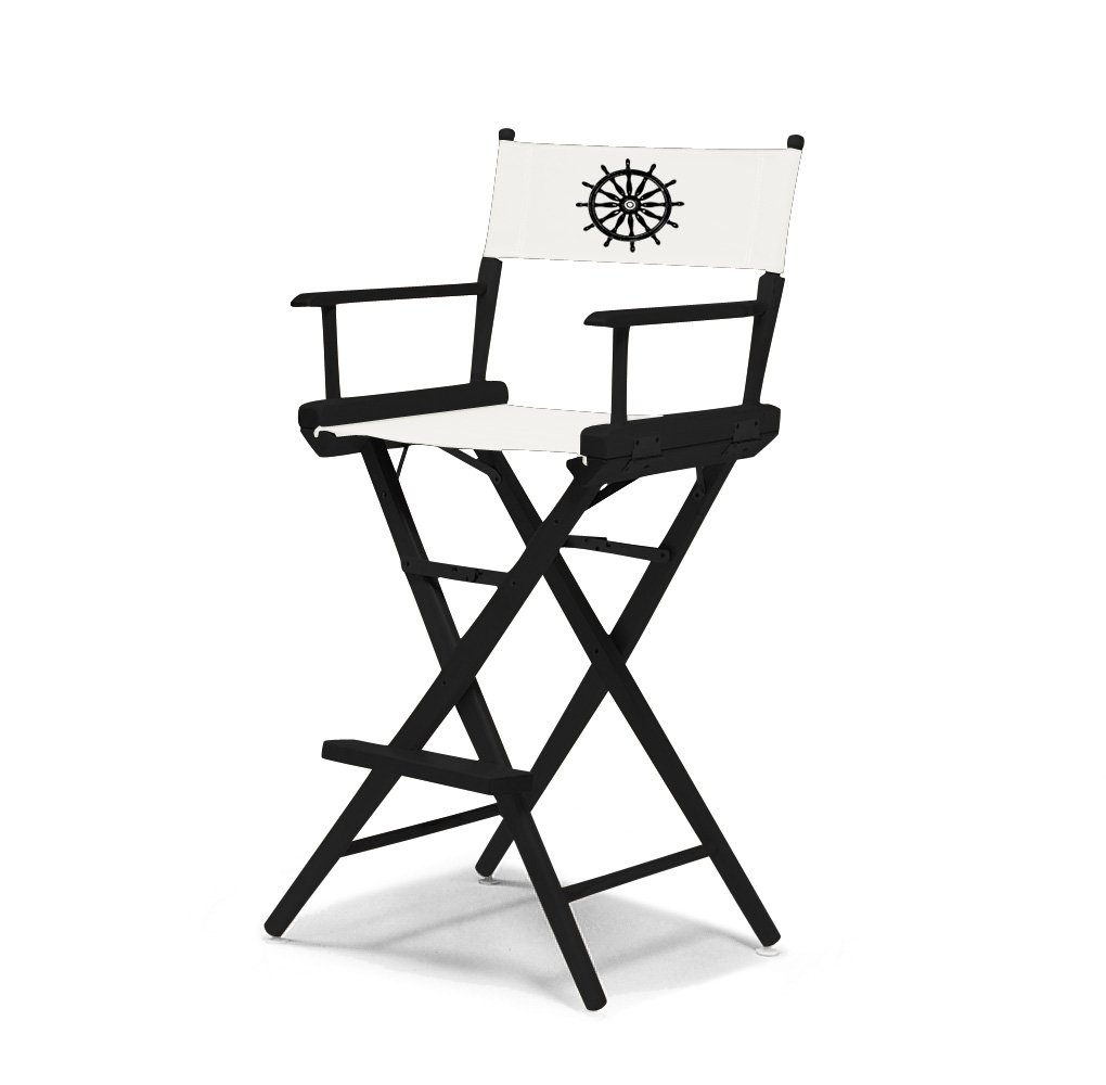 Telescope Casual World Famous Bar Height Director Chair, Black Finish with Marine White and Black Motif Cover
