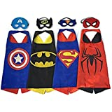 RioRand Comics Cartoon Dress Up Costume Satin Cape with Felt Mask (Set of 4)