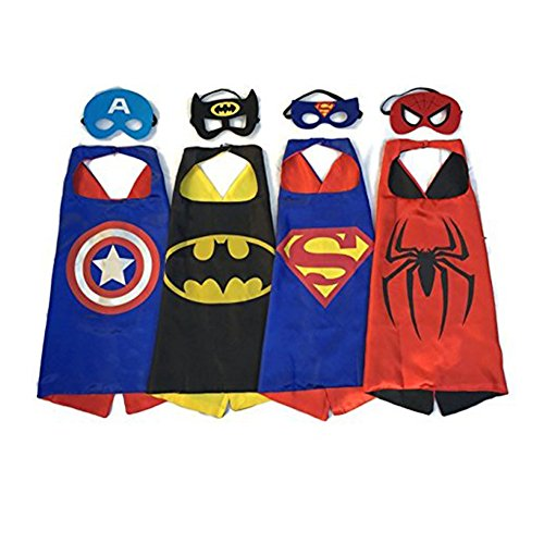 RioRand Comics Cartoon Dress Up Costume Satin Cape with Felt Mask (Set of 4) (Easy Halloween Costumes Men)