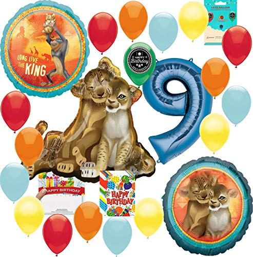 Lion King Party Supplies 9th Birthday Balloon Decoration Supply Bundle with Happy Birthday Card and 8 Treat Bags]()