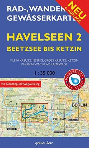 Rad-, Wander- und Gewässerkarte Havelseen 2: Beetzsee bis Ketzin: Mit Klein Kreutz, Jeserig, Groß Kreutz, Phöben, Wachow, Radewege. Maßstab 1:35.000. ... und Gewässerkarten Berlin/Brandenburg) Landkarte – Folded Map, 26. Juni 2018 Groß Kreutz Phöben grünes
