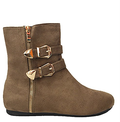 SF Womens Double Buckle Zipper Flat Short Winter Bootie Boots Taupe-90