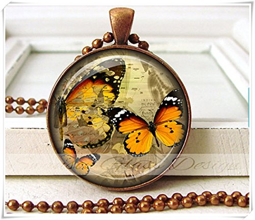 Monarch Butterfly Pendant Vintage Map Black Orange Butterfly Necklace