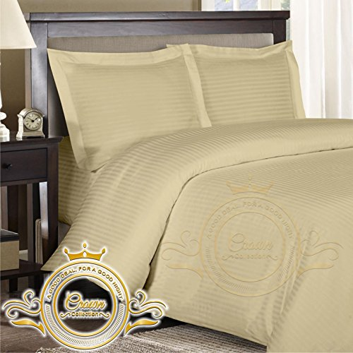 Crown Royal Hotel Collection Export Quality 650 Thread Count Egyptian Cotton Queen Size 4 Piece Sheet Set 14'' Inch Deep Pocket Fitted Sheet Ivory Striped (Egyptian Cotton 650 Thread)