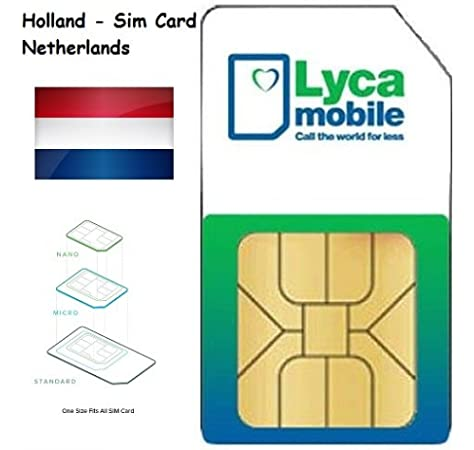 Lycamobile Lyca mobile Prepaid Netherlands Holanda 3 in 1 Sim Card 4G LTE EU Roaming: Amazon.es: Electrónica