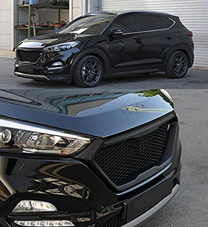 Roadruns Radiator Dress Up Grille Grill with R Badge For Hyundai Tucson 2016 2017 2018 Phantom Black TCM