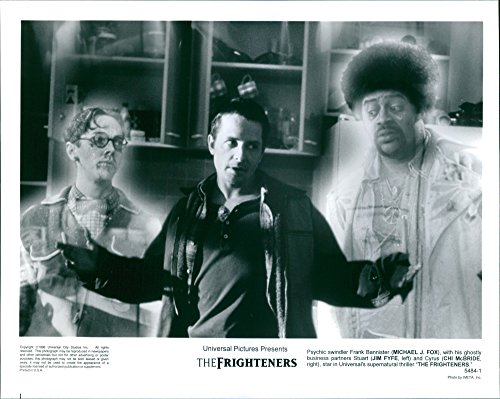 "Old-time photo of Psychic swindler Frank Bannister (Michael J. Fox), with his ghostly business partners Stuart (Jim Fyfe, left) and Cyrus (Chi McBride, good), in the film ""The Frighteners"""